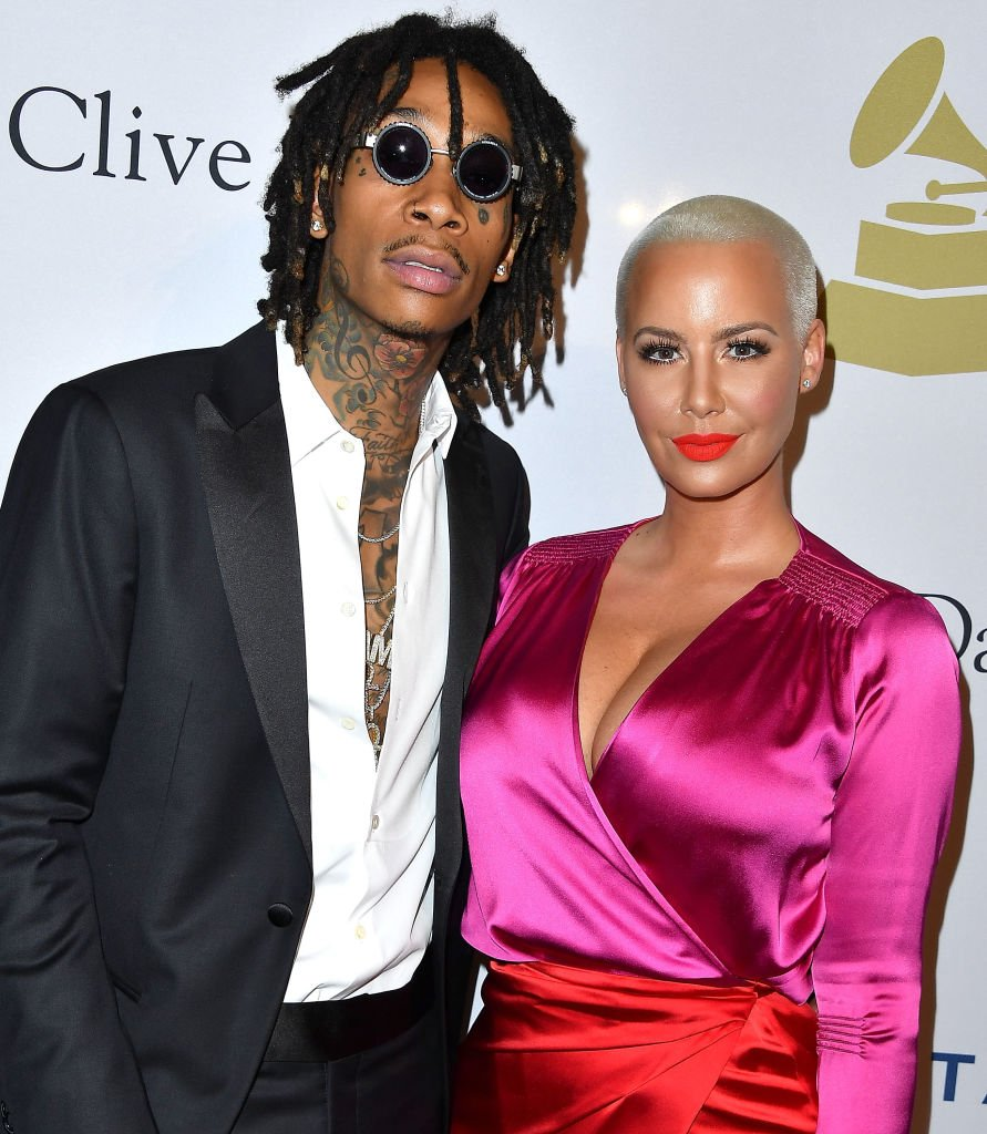 Image Source: Getty Images/WireImage/Steve Granitz | Wiz and Amber at a pre-Grammy Gala