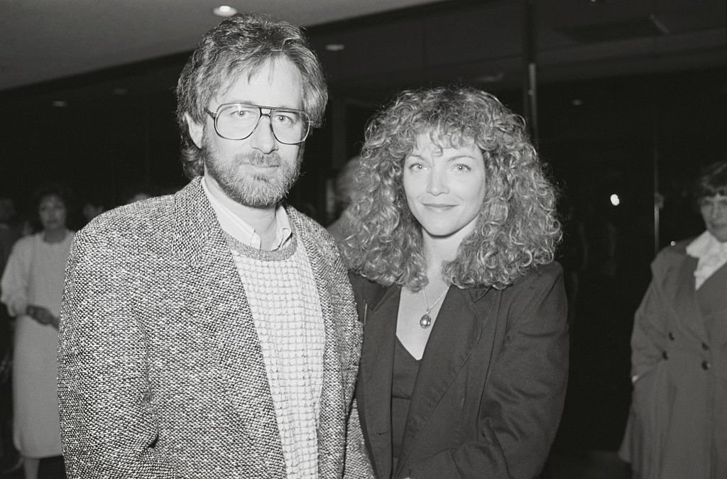"""Image Credit: Getty Images / Actress Amy Irving and husband Steven Spielberg, film director, stand together at the premier of Irving's miniseries, """"Anastasia: The Mystery of Anna"""", on December 3, 1986."""
