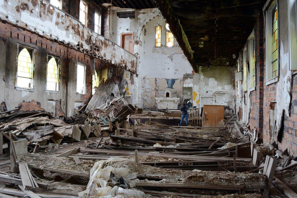 Destroyed Interior of an Abandoned Synagogue In Detroit | Shutterstock