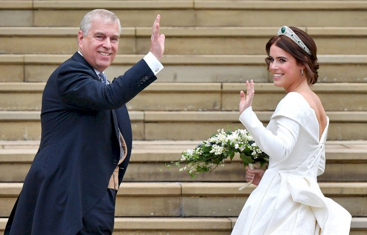 Image Credit: Getty Images / Princess Eugenie about to enter the church with her father, the Duke of York.