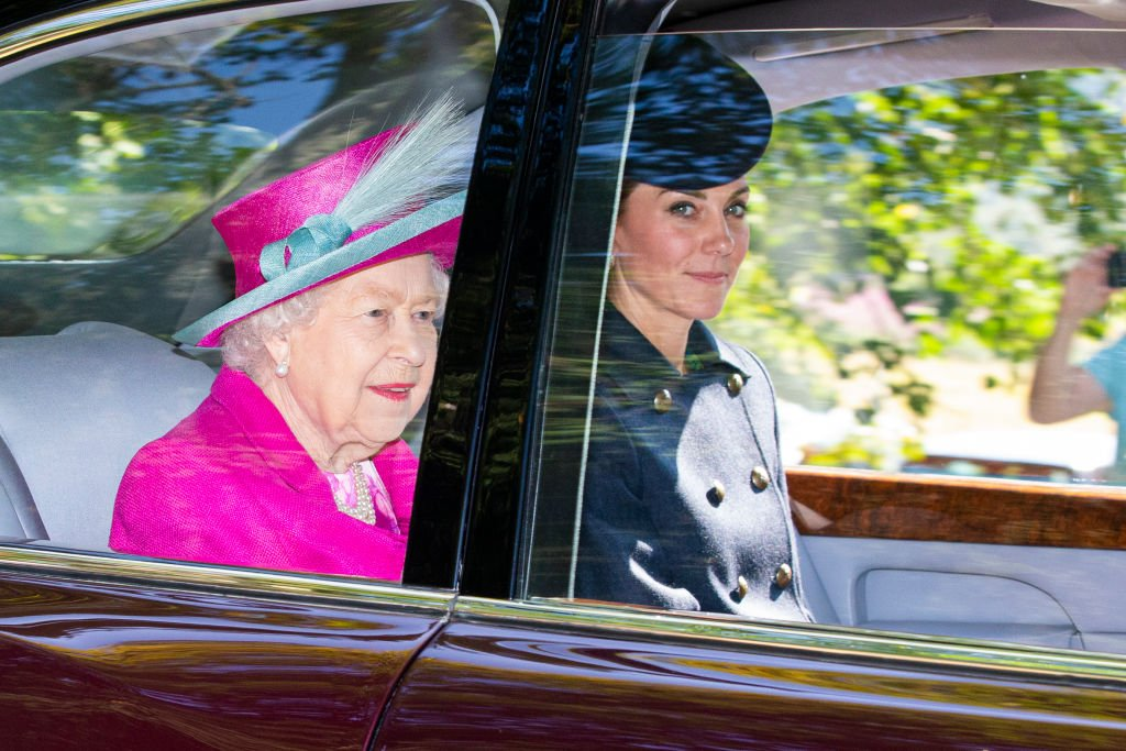 Image Credit: Getty Images / Queen Elizabeth II and Catherine, Duchess of Cambridge are driven to Crathie Kirk Church before the service on August 25, 2019 in Crathie, Aberdeenshire.