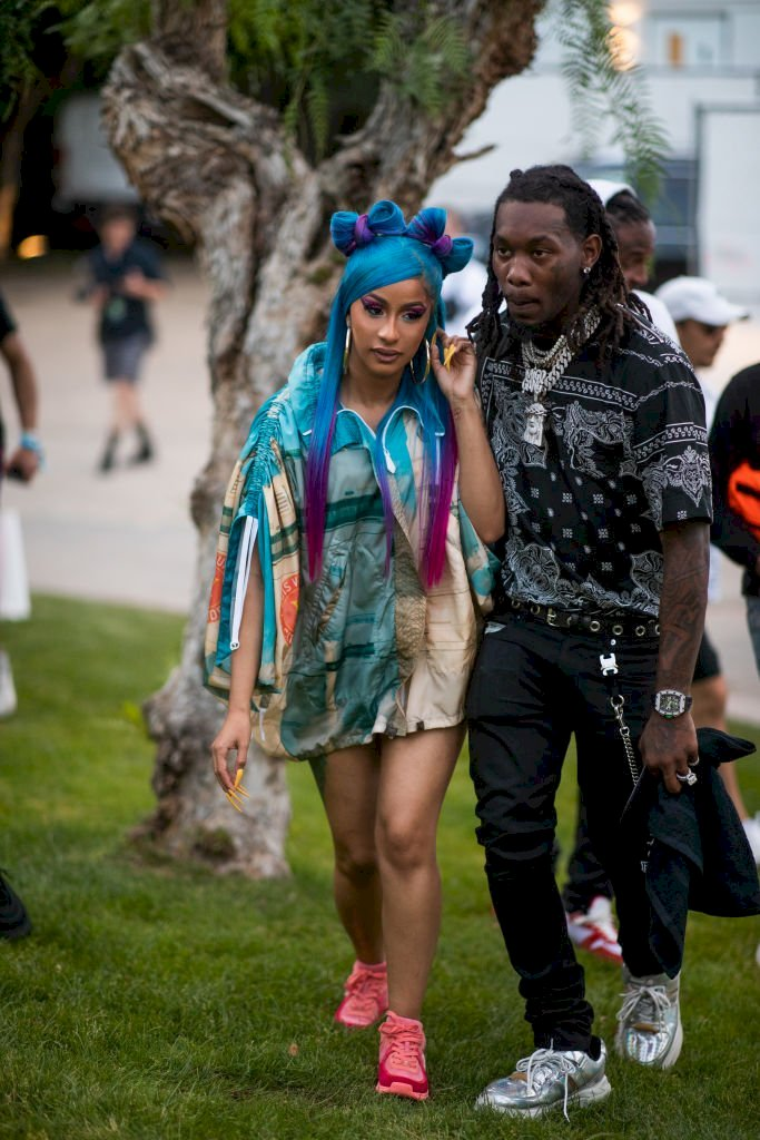 Image Credit: Getty Images / Singer and rapper, Cardi B poses with her former partner, Offset.