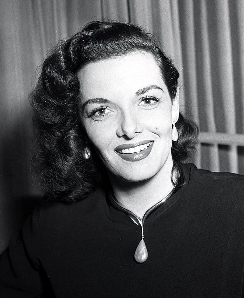Image Source: Getty Images/Popperfoto /A portrait of American actress Jane Russell in England for the Royal Film Command Performance