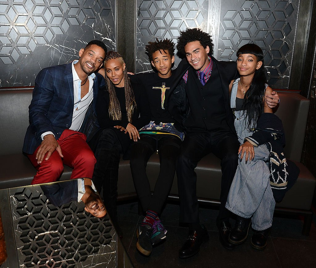 Image Credits: Getty Images / Denise Truscello / WireImage | Will Smith, Jada Pinkett Smith, Jaden Smith, Trey Smith and Willow Smith celebrate Trey Smith's 21st birthday with special dinner at Hakkasan Las Vegas at MGM Grand on November 10, 2013 in Las Vegas, Nevada.