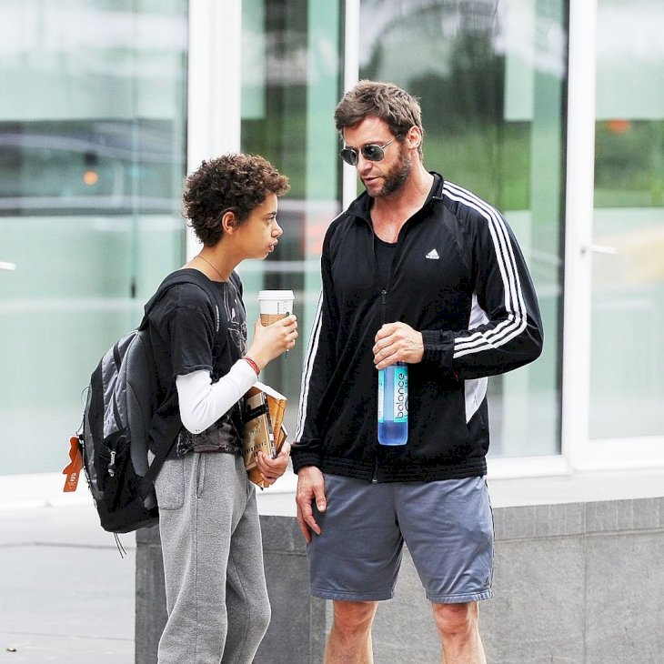 Image Credit: Getty Images / Hugh Jackman in New York with his son, Oscar.