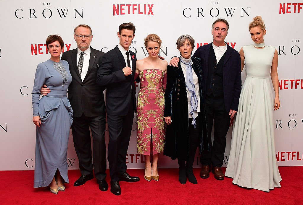 "Image Credits: Getty Images / David M. Benett / WireImage | Victoria Hamilton, Jared Harris, Matt Smith, Claire Foy, Dame Eileen Atkins, Greg Wise and Vanessa Kirby attend the World Premiere of new Netflix Original series ""The Crown"" at Odeon Leicester Square on November 1, 2016 in London, England."