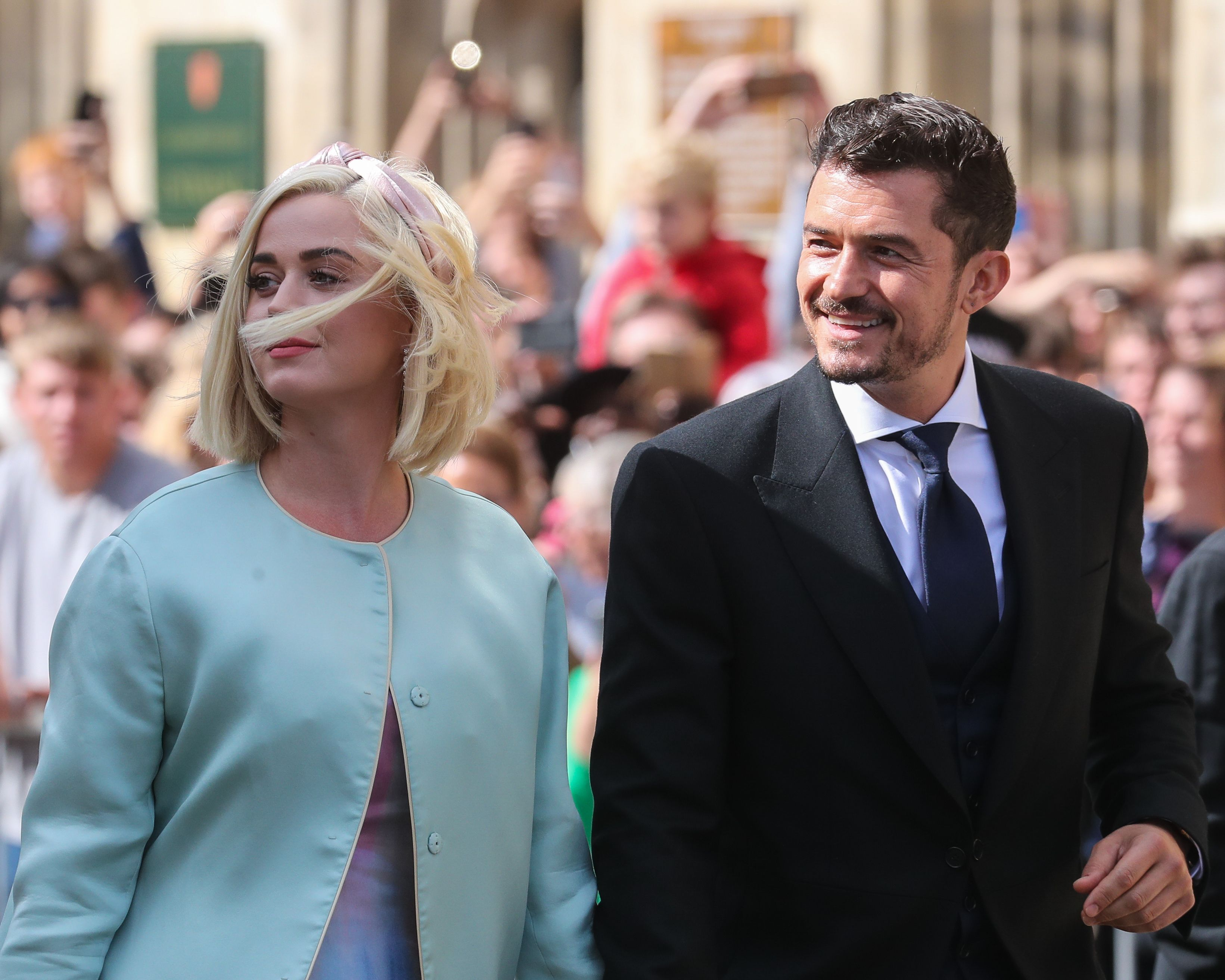 Katy Perry and Orlando Bloom seen at the wedding of Ellie Goulding and Caspar Jopling / Getty Images