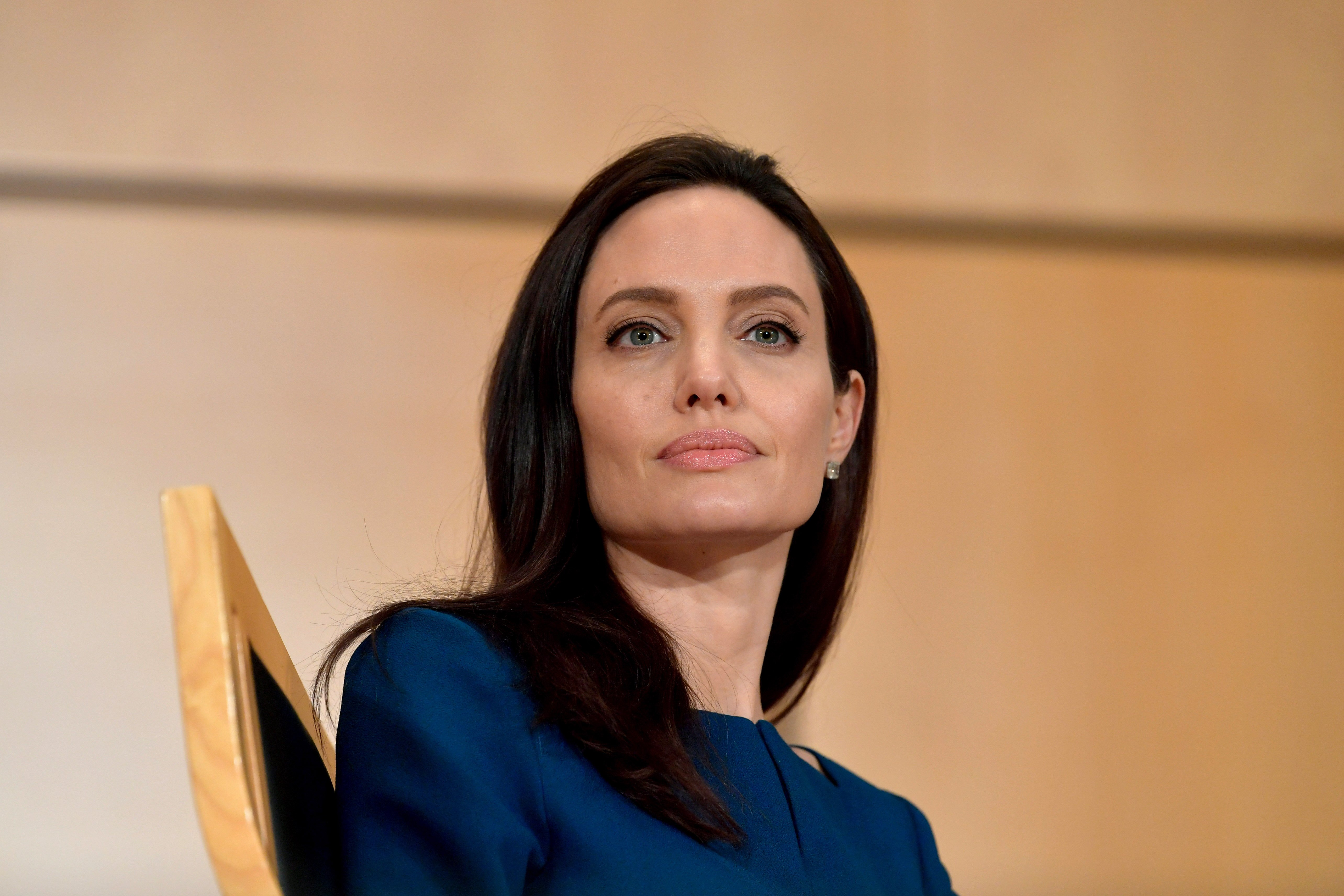 Image Credit: Getty Images/Harold Cunningham |  UNHCR Special Envoy Angelina Jolie speaks at the annual lecture of the Sergio Vieira De Mello Foundation