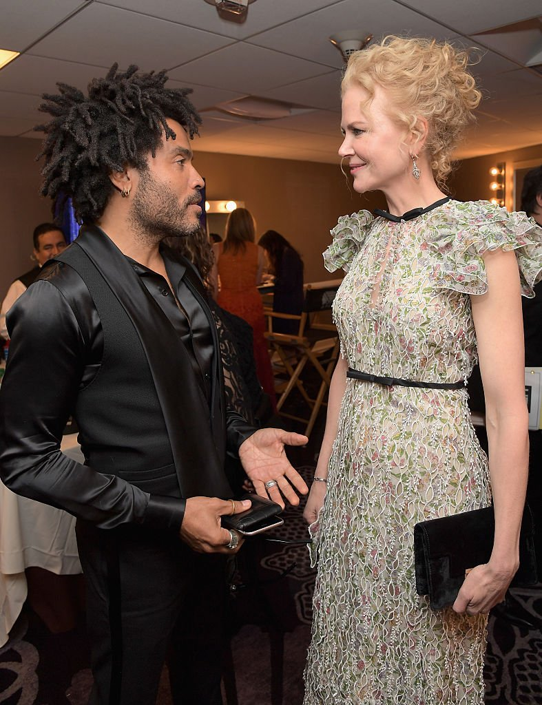 Image Source: Getty Images/Charley GallayRecording artist Lenny Kravitz (L) and actress Nicole Kidman pose in the green room during the Hollywood Film Awards on November 6, 2016 in West Hollywood, California