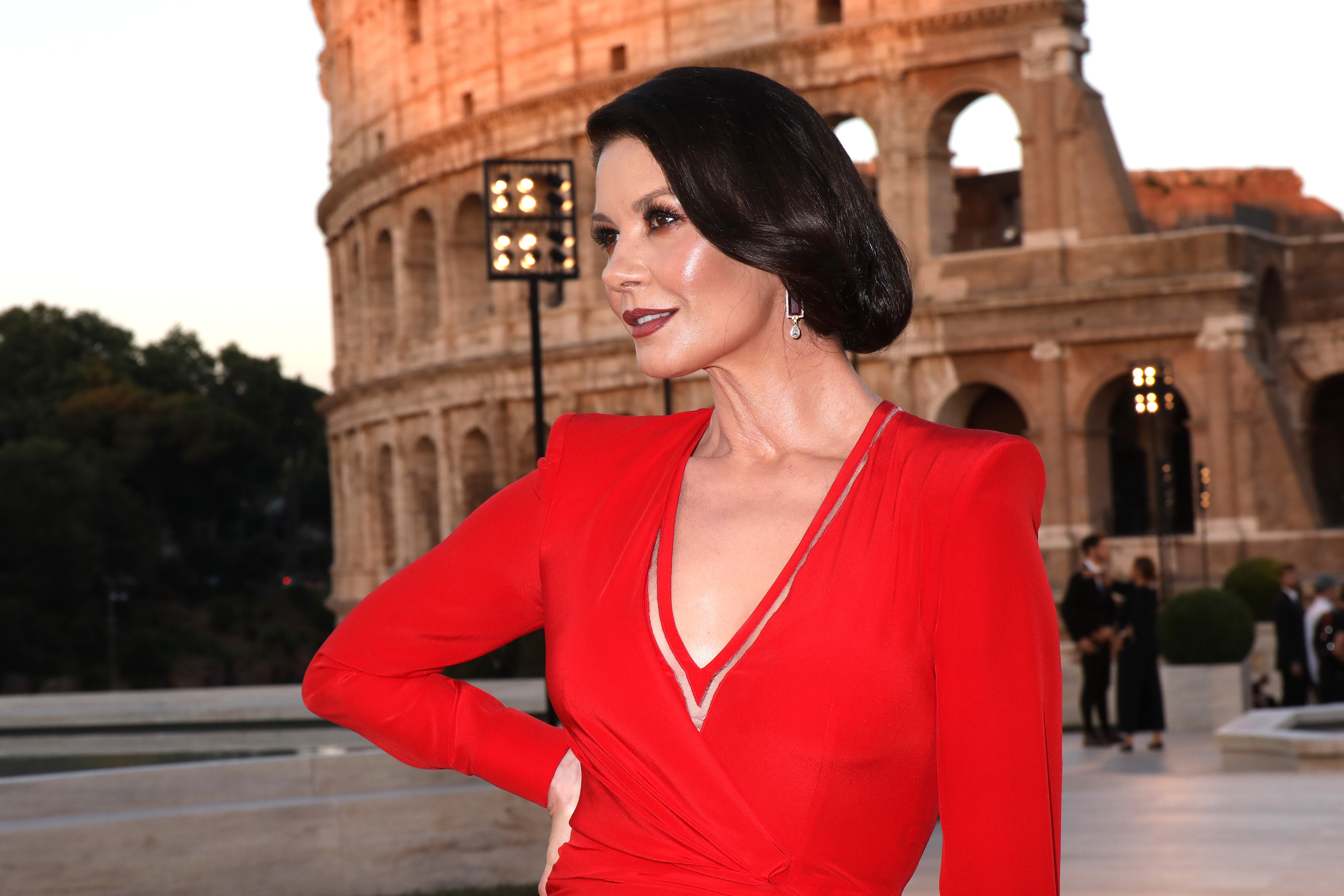 Image Credits: Getty Images / Elisabetta Villa | Catherine Zeta Jones attends the Cocktail at Fendi Couture Fall Winter 2019/2020 on July 04, 2019 in Rome, Italy.