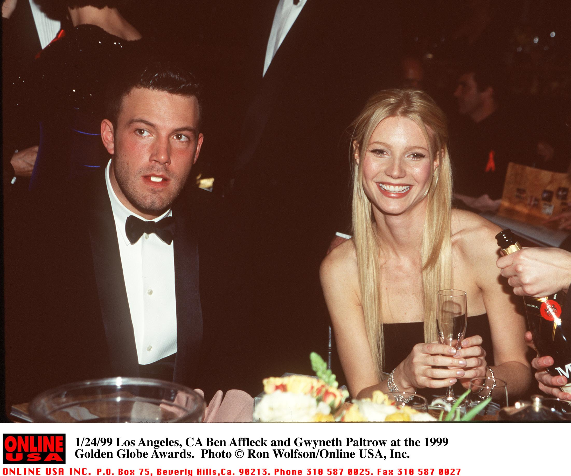 Image Credits: Getty Images / Ron Wolfson / Online USA | Ben Affleck and Gwyneth Paltrow at the 1999 Golden Globe Awards January 24, 1999 in Los Angeles, CA.