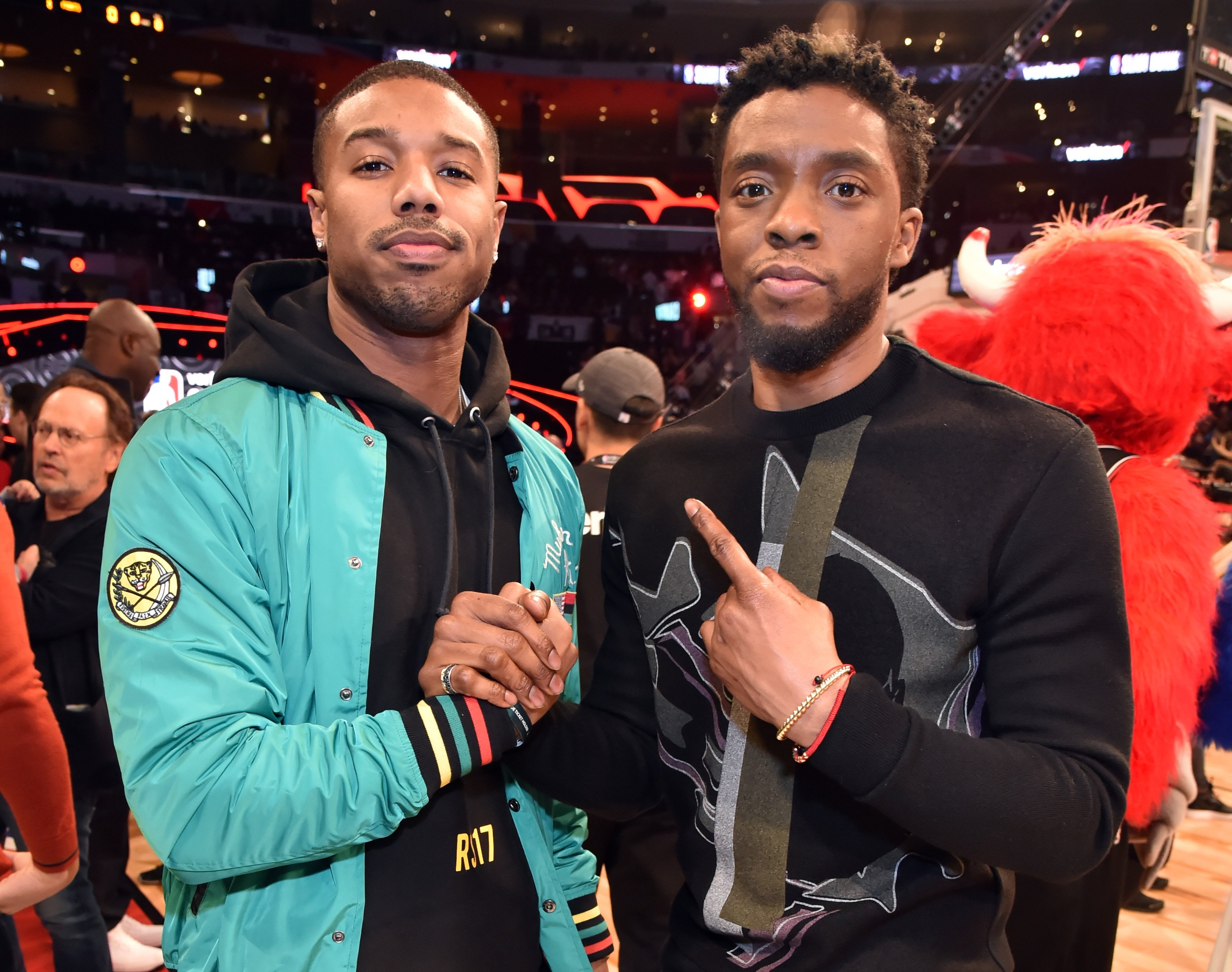 Image Credits: Getty Images / Kevin Mazur / WireImage | Michael B. Jordan and Chadwick Boseman attend the 2018 State Farm All-Star Saturday Night at Staples Center on February 17, 2018 in Los Angeles, California.