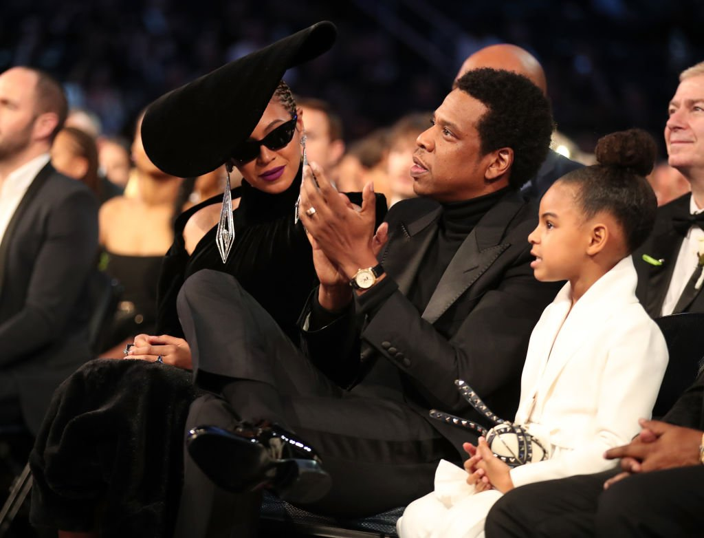 Image Credit: Getty Images / Beyonce, Jay Z and daughter Blue Ivy Carter attend the 60th Annual GRAMMY Awards at Madison Square Garden on January 28, 2018.