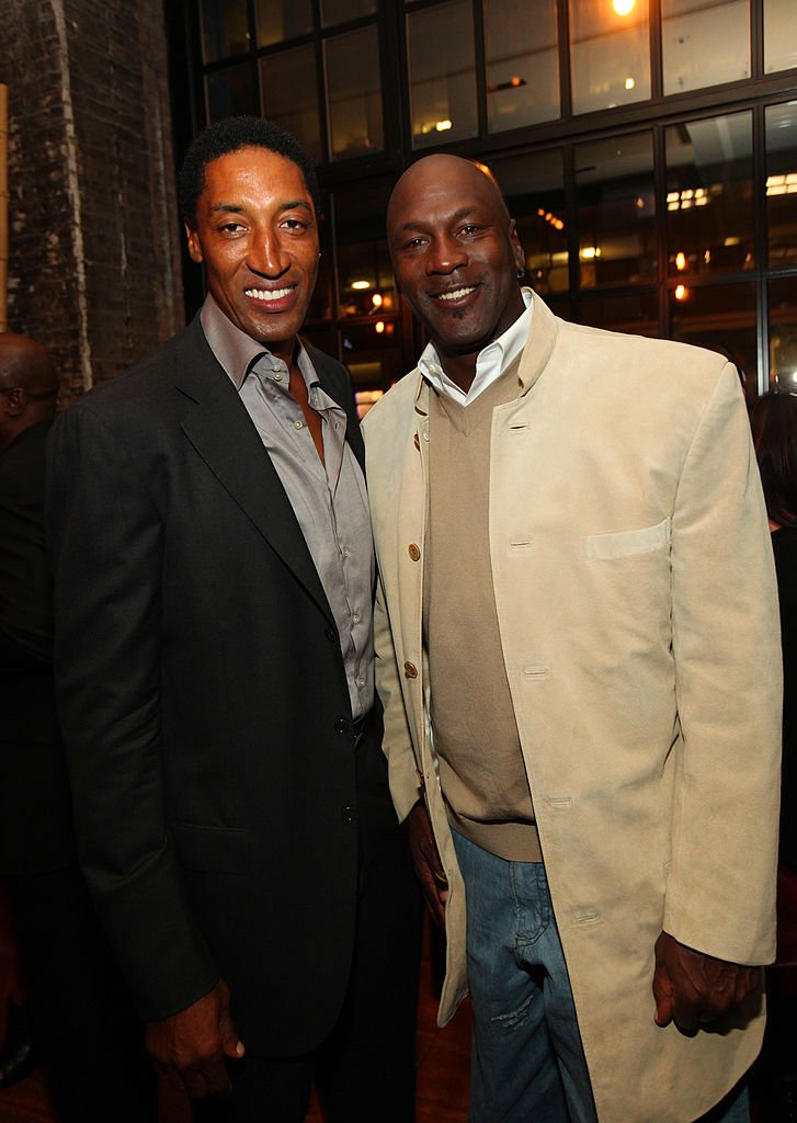 Image Credits: Getty Images / Barry Brecheisen / WireImage | Scottie Pippen and Michael Jordan attend the surprise birthday celebration for Scottie Pippen at Sunda on September 24, 2012 in Chicago, Illinois.