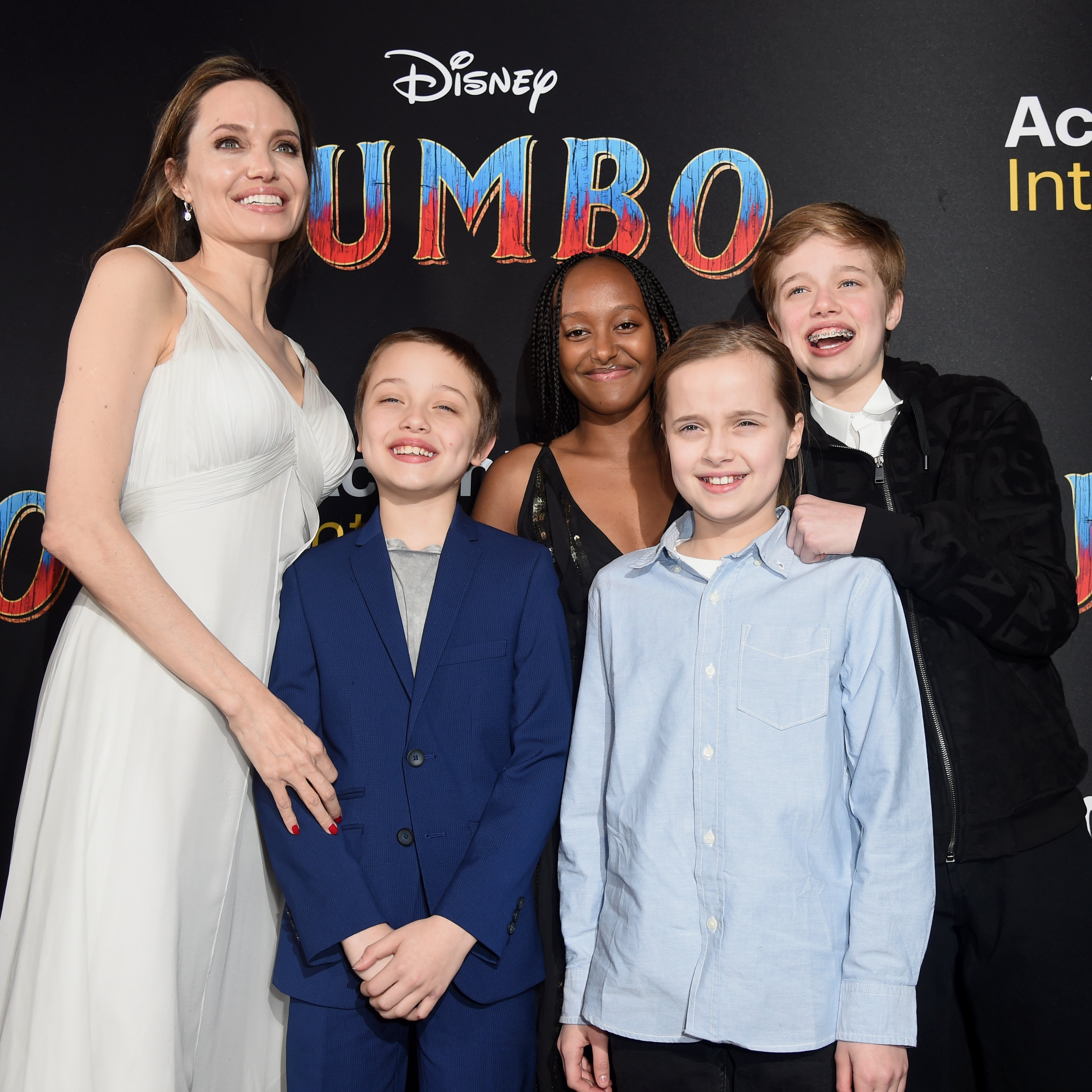 Image Credit: Getty Images/Kevin Winter | Angelina with the Jolie-Pitt kids at the Dumbo premier