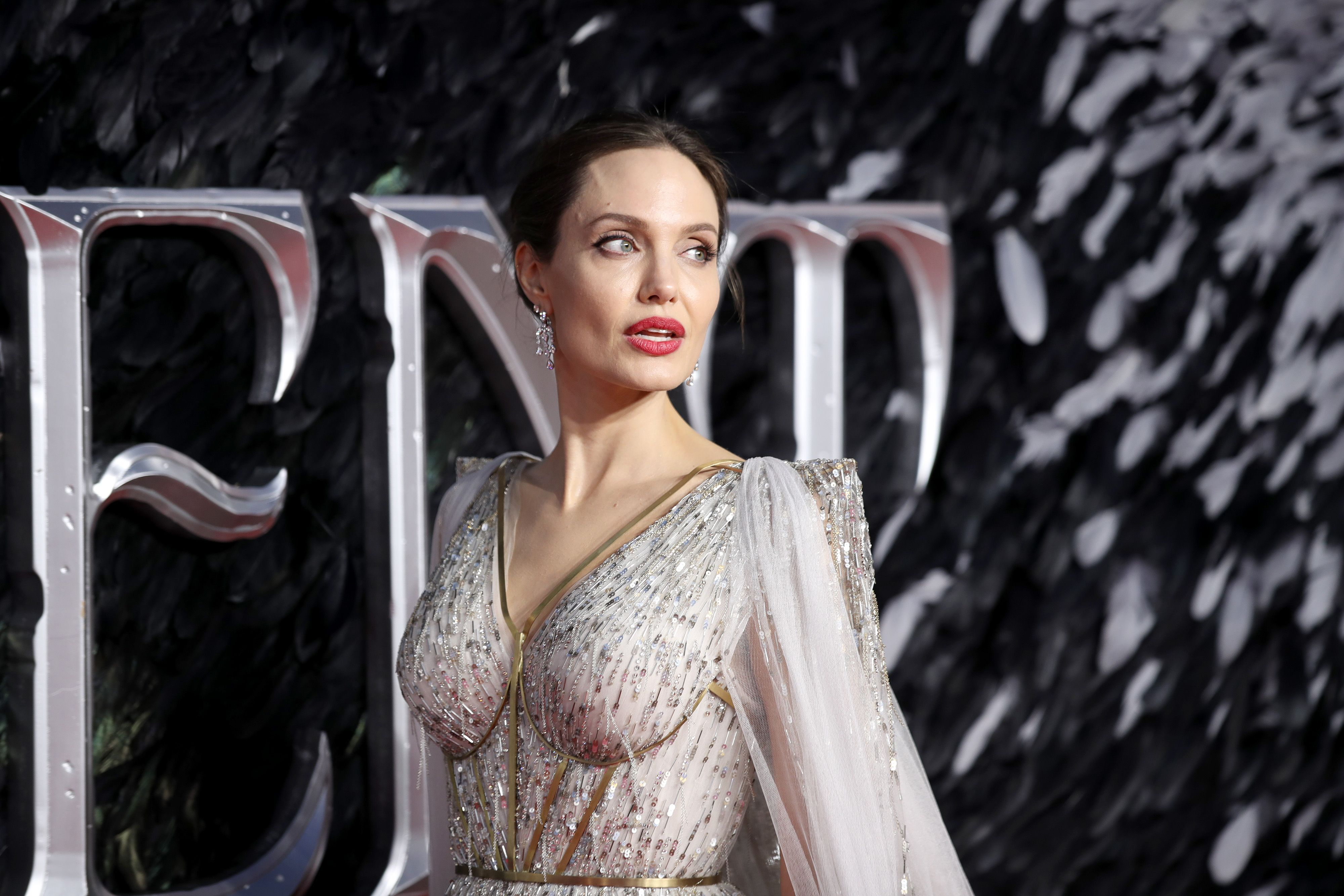 Angelina Jolie attends the Maleficent: Mistress of Evil European Premiere at the BFI Imax, Waterloo. (Photo by Gary Mitchell/SOPA Images/LightRocket via Getty Images)