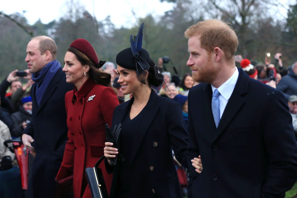Image Credit: Getty Images / Prince William, Duke of Cambridge, Catherine, Duchess of Cambridge, Meghan, Duchess of Sussex and Prince Harry, Duke of Sussex leave after attending Christmas Day Church service at Church of St Mary Magdalene on the Sandringham estate on December 25, 2018.