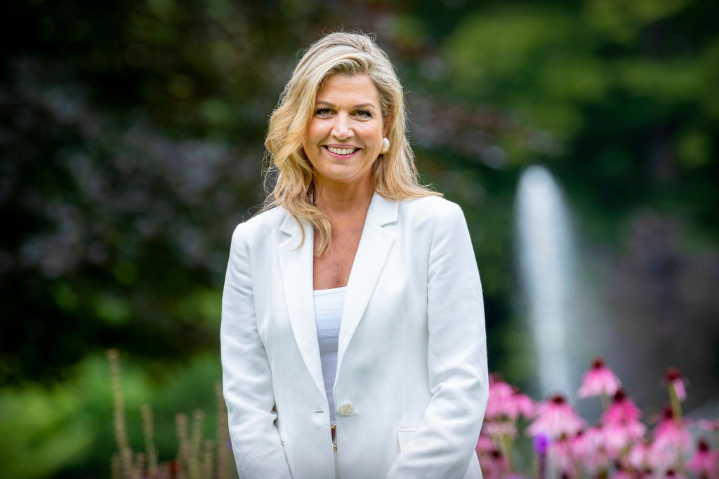 Image Credit: Getty Images/Patrick van Katwijk   Queen Máxima is pictured looking royal in a perfectly suited outfit.