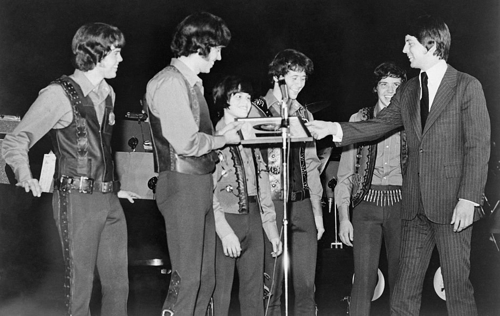Image Credit: Getty Images / Osmonds received their Gold record, during their opening performance at Caesars Palace in Las Vegas 1971.