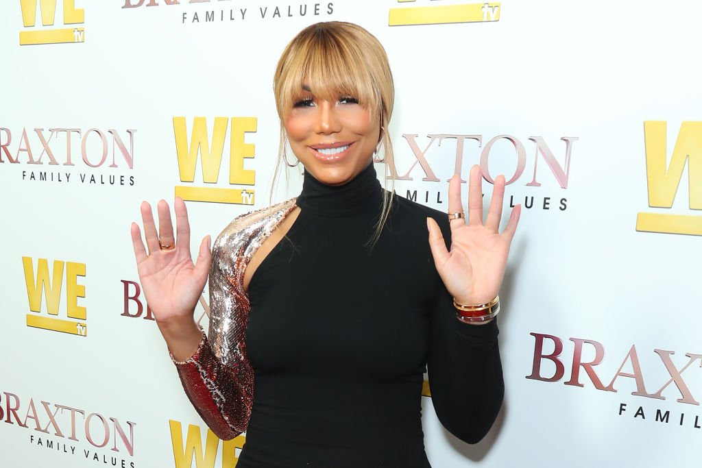 """Image Credits: Getty Images / Leon Bennett   Tamar Braxton attends WE tv's """"Braxton Family Values"""" Season 6 Premiere at The Doheny Room on April 02, 2019 in West Hollywood, California."""
