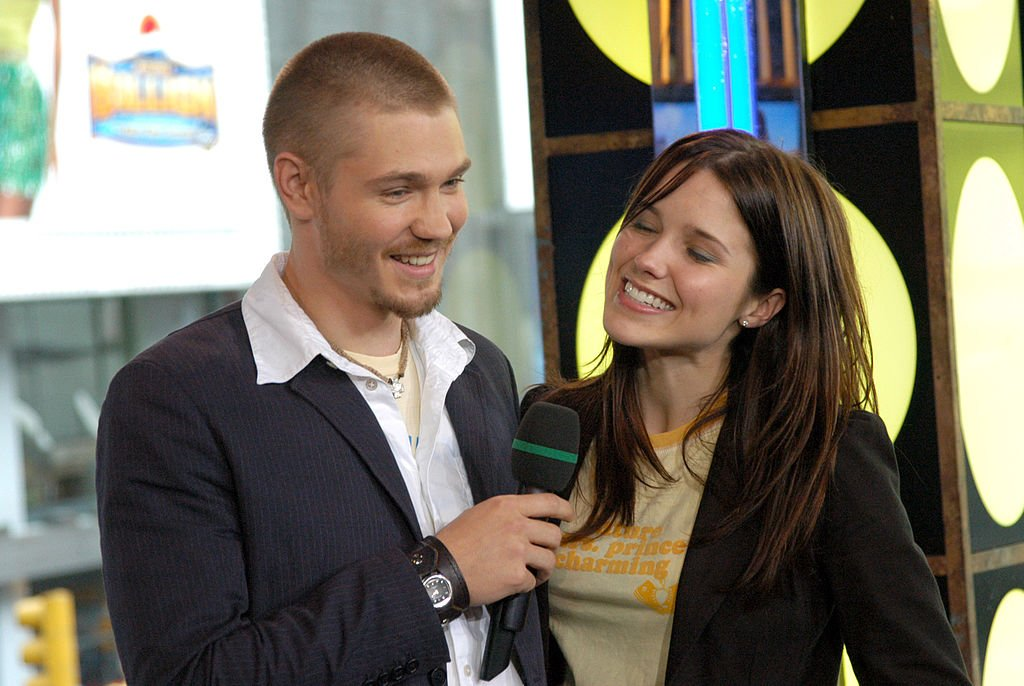 """Image Credit: Getty Images / Chad Michael Murray and Sophia Bush during Hilary Duff, Chad Michael Murray and Sophia Bush Visit MTV's """"TRL"""" - July 15, 2004 at MTV Studios in New York City."""