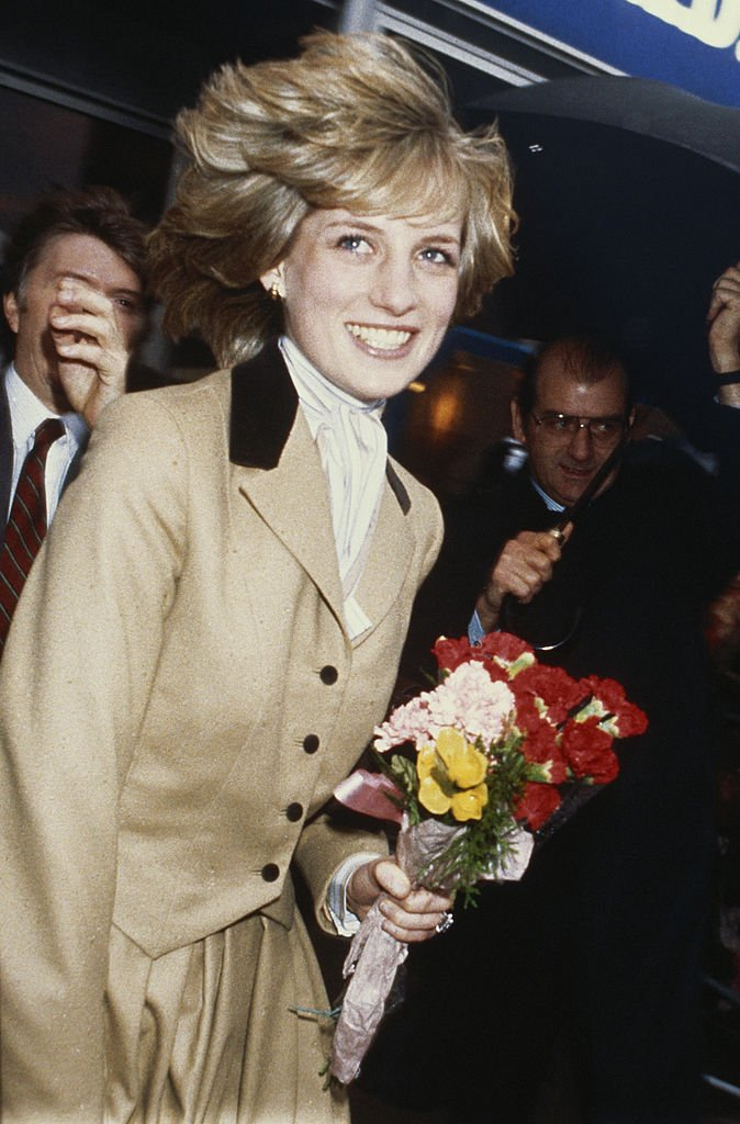 Image Credits: Getty Images | Princess Diana wearing a tuxedo inspired beige jacket