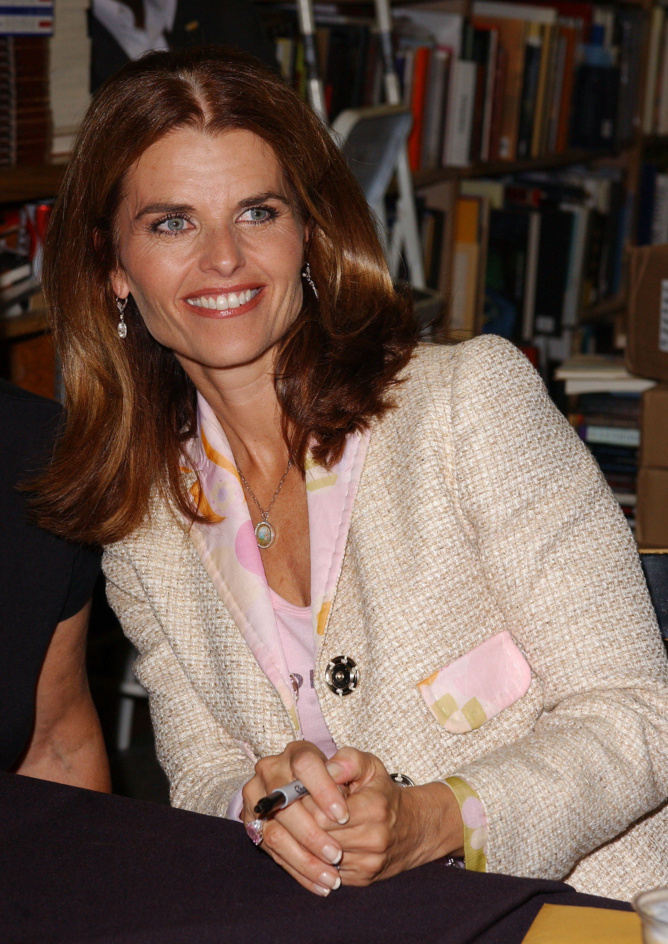 "Image Credits: Getty Images / Amanda Edwards | Television anchorwoman and California First Lady Maria Shriver signs copies of her new children's book ""What's Happening to Grandpa?"" on May 26, 2004 at Dutton's Brentwood Bookstore, in Los Angeles, California."