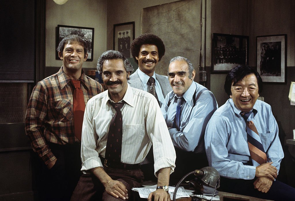 Image Credit: Getty Images / Characters Max Gail, Hal Linden, Ron Glass, Abe Vigoda and Jack Soo on set for Barney Miller.