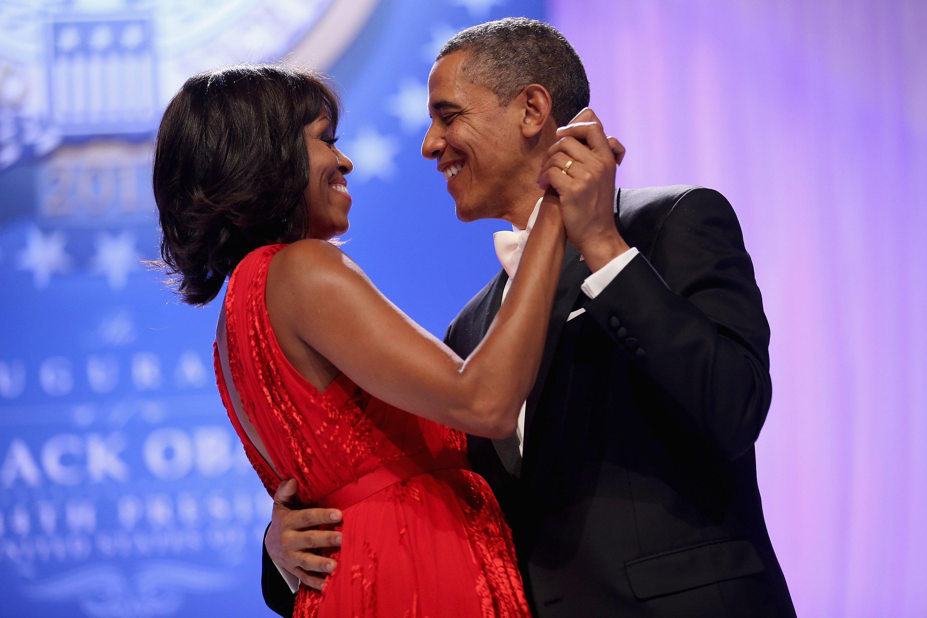 Image Source: Getty Images/Barrack and Michelle dancing together