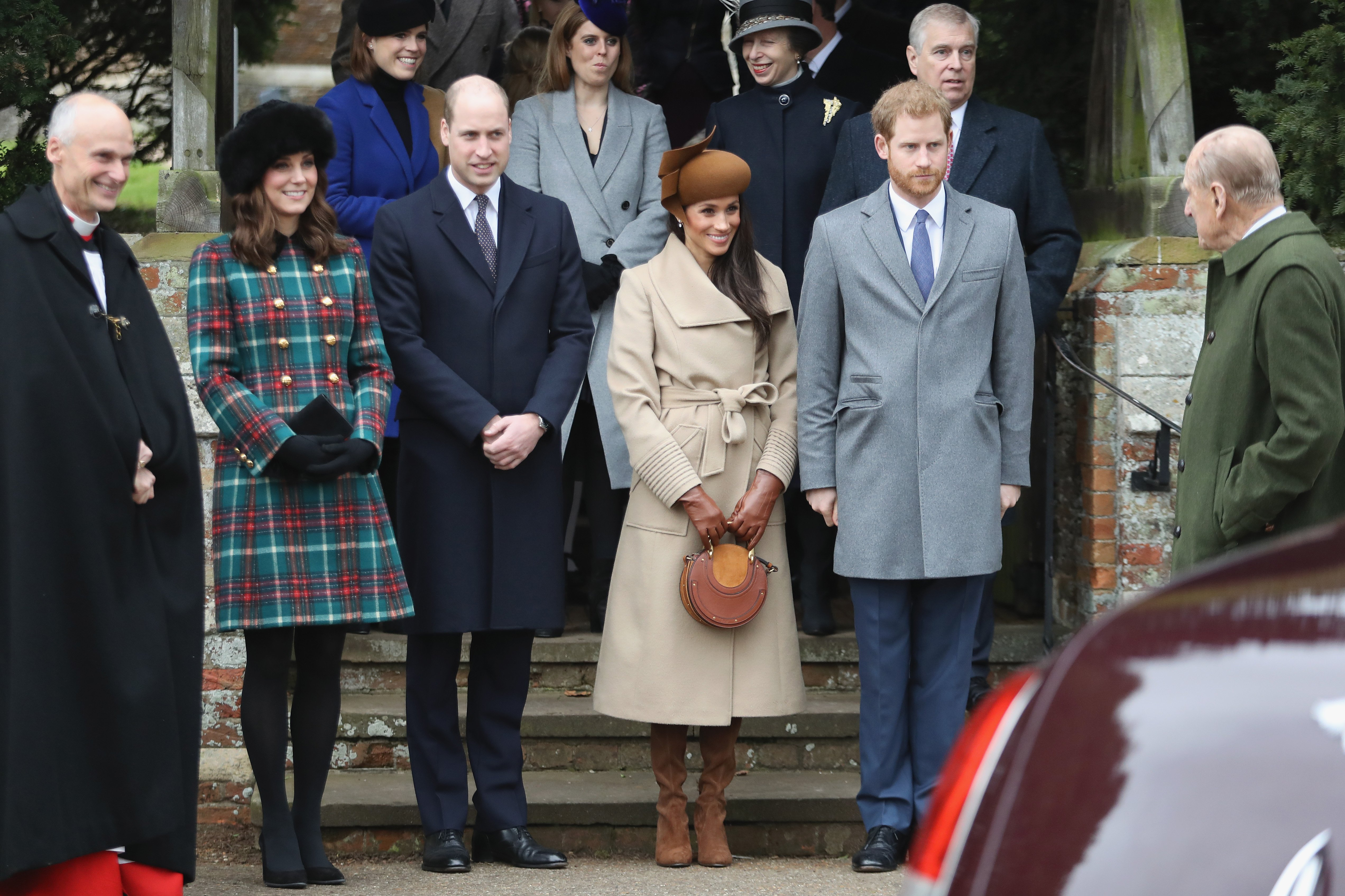 Image Credits: Getty Images / Chris Jackson   Princess Beatrice, Princess Eugenie, Princess Anne, Princess Royal, Prince Andrew, Duke of York, Prince William, Duke of Cambridge, Prince Philip, Duke of Edinburgh, Catherine, Duchess of Cambridge, Meghan Markle and Prince Harry attend Christmas Day Church service at Church of St Mary Magdalene on December 25, 2017 in King's Lynn, England.