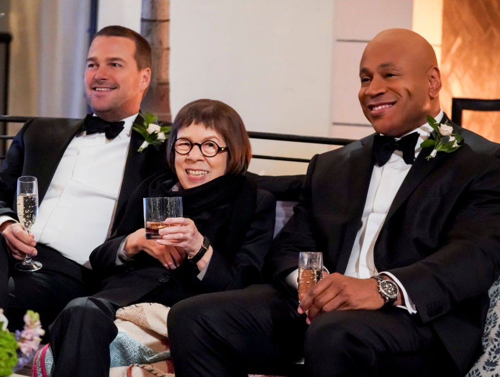 """Image Credit: Getty Images / """"Till Death Do Us Part"""" Linda Hunt (Henrietta """"Hetty"""" Lange) and her NCIS family celebrates the wedding of Kensi and Deeks."""