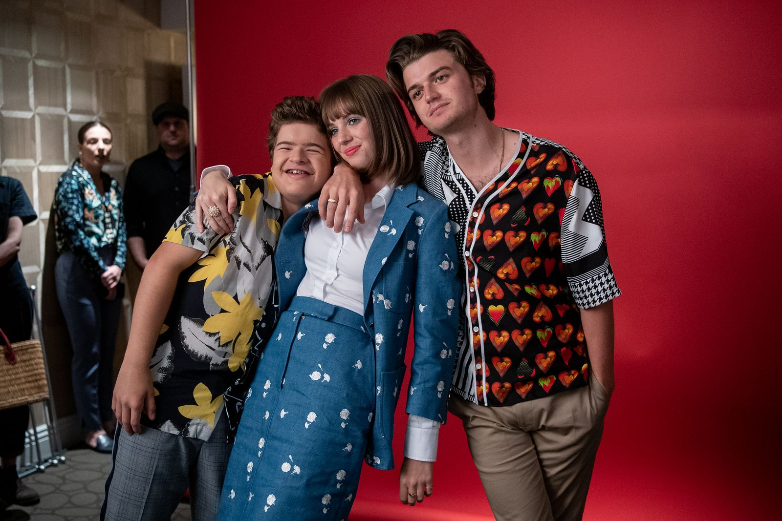 Gaten Matarazzo, Joe Keery, Maya Hawke at the Stranger Things Season 3 Press Day/Photo:Getty Images