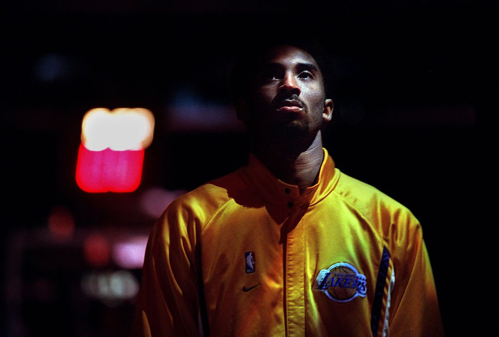 Image Credit: Getty Images / Lakers guard Kobe Bryant during the National Anthem at the Staples Center Monday against the Vancouver Grizzlies.