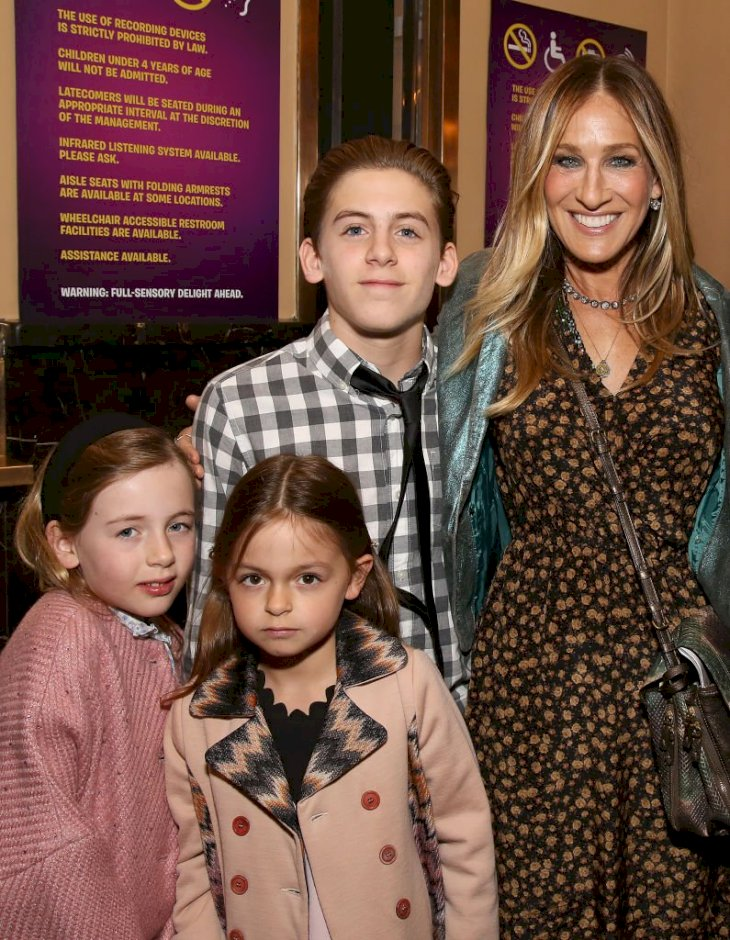 Image Credits: Getty Images / Walter McBride / WireImage | Tabitha Broderick, Marion Loretta Broderick, James Wilkie Broderick and Sarah Jessica Parker attending the Broadway Opening Performance After Party for 'Charlie and the Chocolate Factory' at the Pier 60 on April 23, 2017 in New York City.