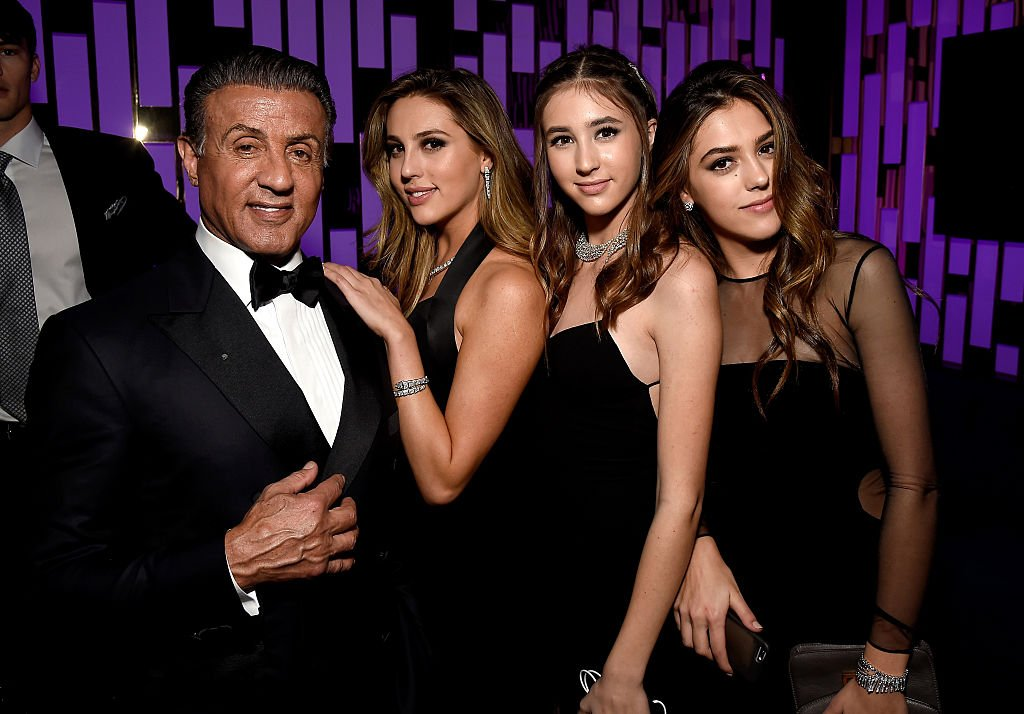 Image Source: Getty Images/Getty Images for InStyle/Matt Winkelmeyer | Stallone and his daughter at the Golden Globes Post-Party