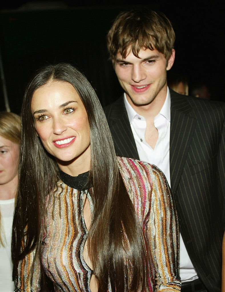 """Image Source: Getty Images/Kevin Winter/Actress Demi Moore and Ashton Kutcher arrive at the after-party for """"Charlie's Angels: Full Throttle"""" at the Chinese Theater on June 18, 2003 in Los Angeles, California"""