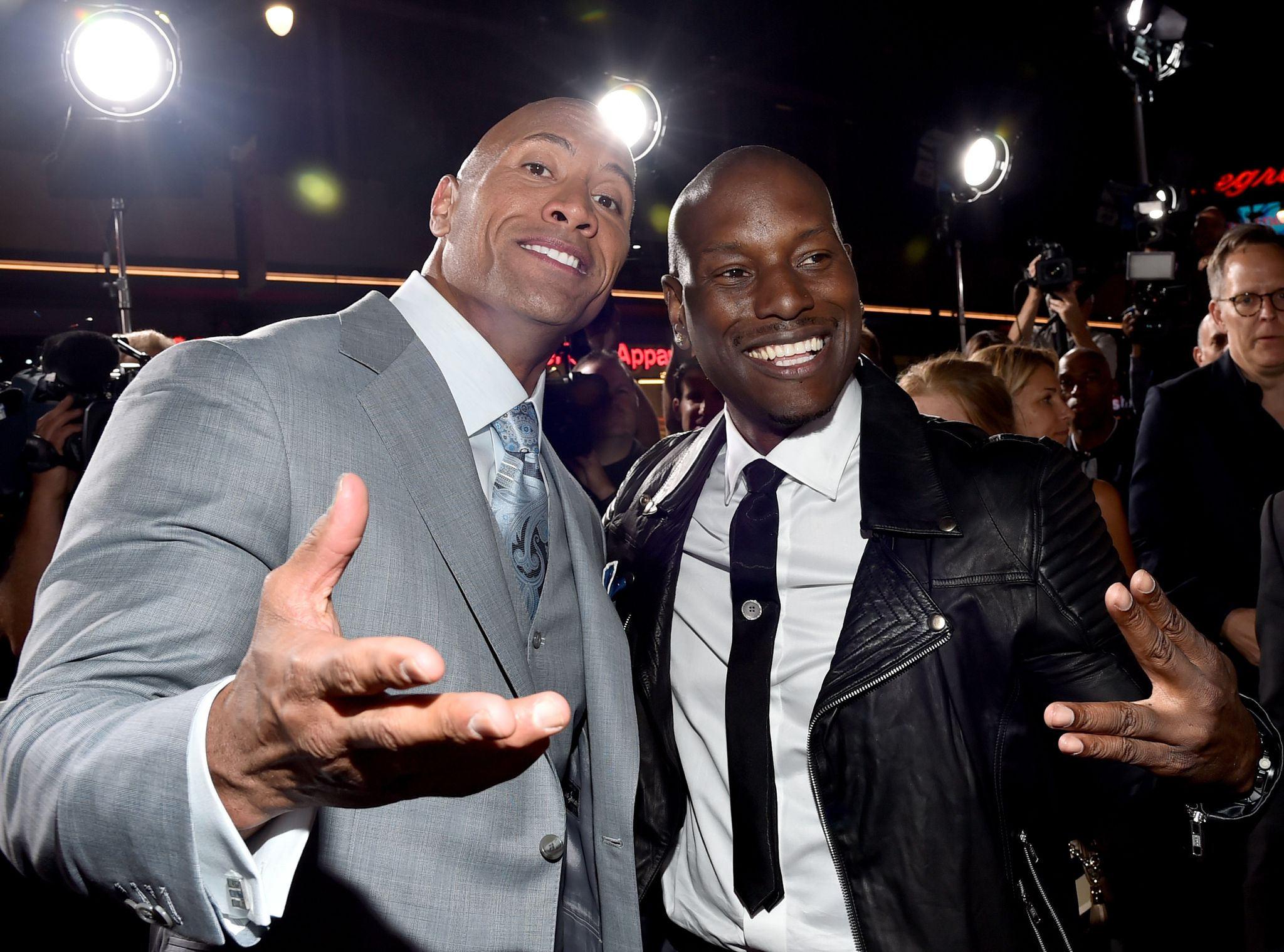 "Dwayne 'The Rock' Johnson and Tyrese Gibson attend Universal Pictures' ""Furious 7"" premiere / Getty Images"