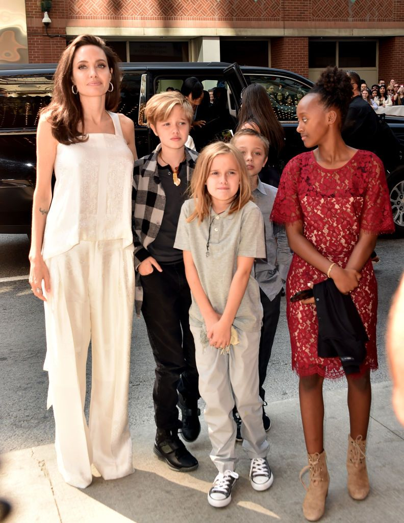 Angelina Jolie with her children Shiloh Pitt Jolie, Vivienne Marcheline Pitt Jolie, Zahara Marley Pitt Jolie, Knox Leon Pitt Jolie/Photo:Getty Images