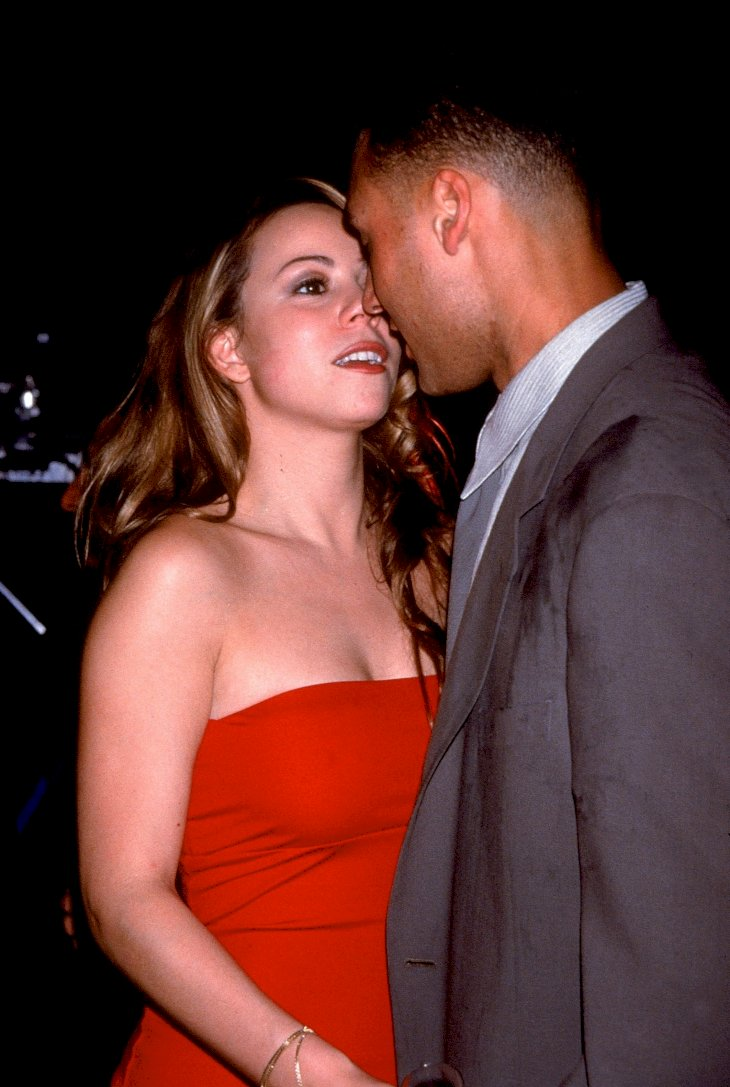 (L-R) Pop singer Mariah Carey w. boyfriend, baseball player Derek Jeter at birthday party for rapper Puff Daddy. (Photo by Dave Allocca/DMI/The LIFE Picture Collection via Getty Images)