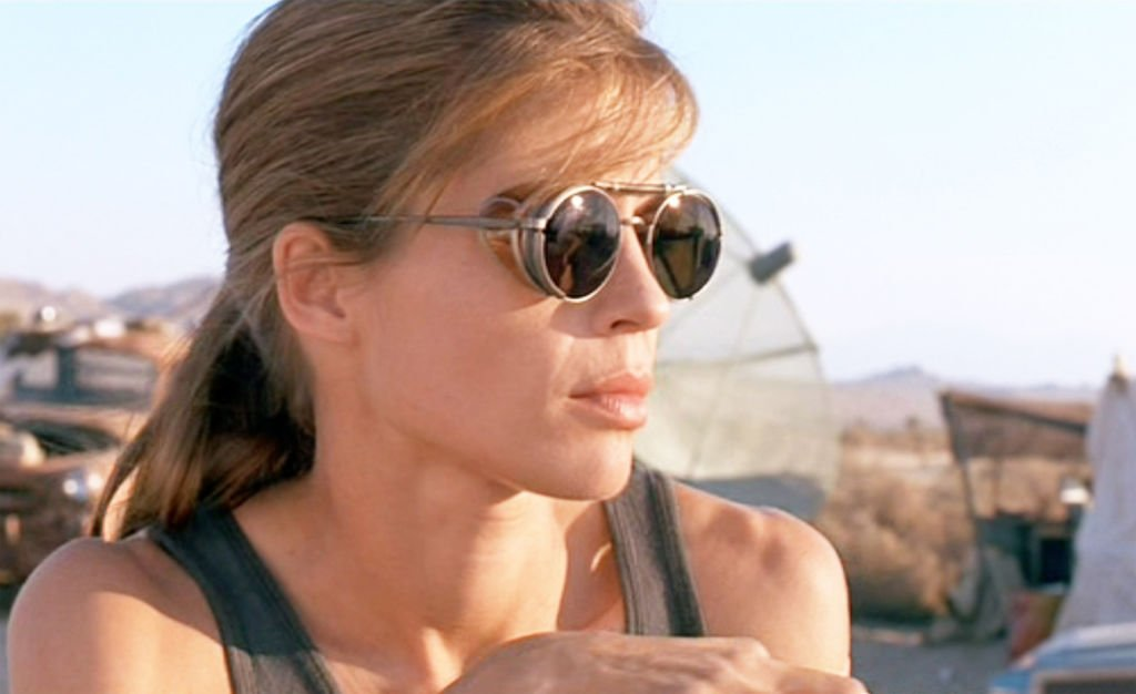 "Image Credits: Getty Images / CBS / Paramount Pictures | The movie ""Terminator 2: Judgment Day"", (alt: T2) directed by James Cameron. Seen here, Linda Hamilton (as Sarah Connor)."