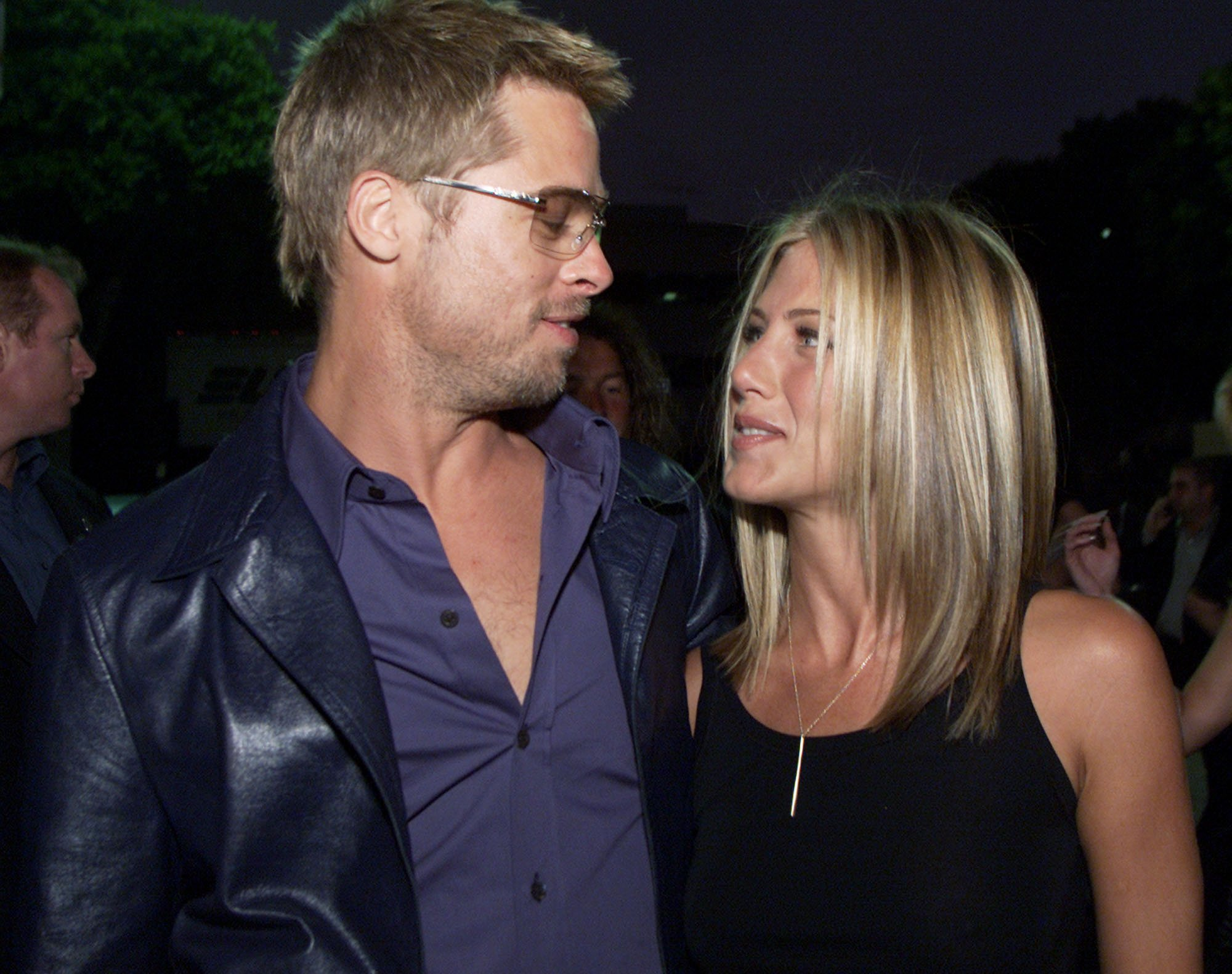 "Image Credits: Getty Images / Kevin Winter | Brad Pitt and Jennifer Aniston at the premiere of ""Rock Star"" at the Mann Village Theater in Los Angeles."