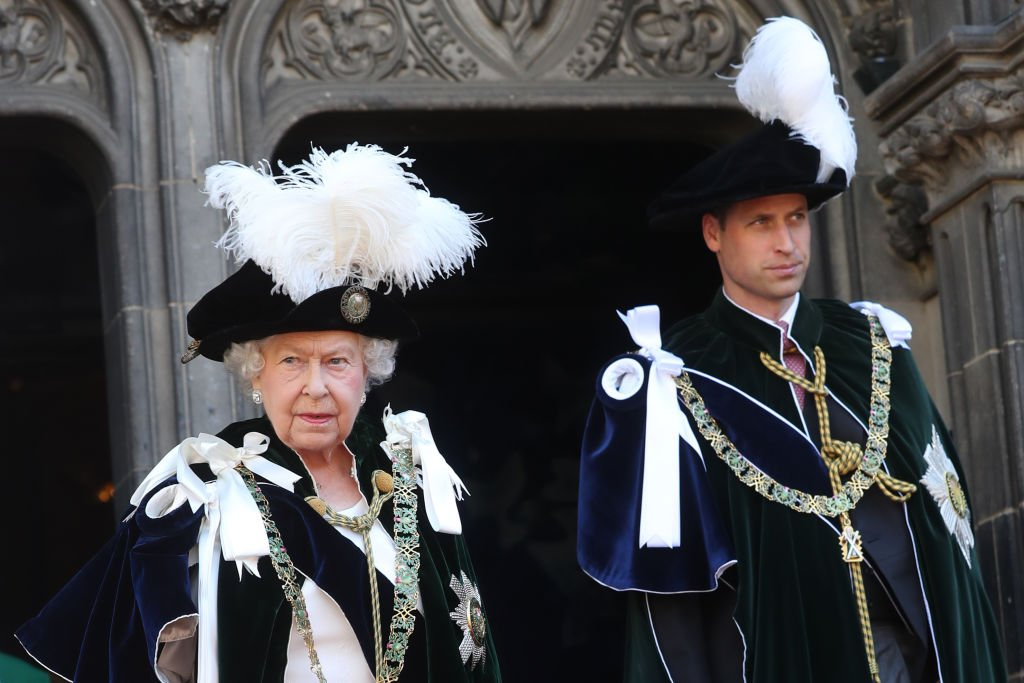 Image Credit: Getty Images / Queen Elizabeth II and Prince William, Duke of Cambridge leave The Thistle Service at St Giles Cathedral on July 6, 2018 in Edinburgh, Scotland.
