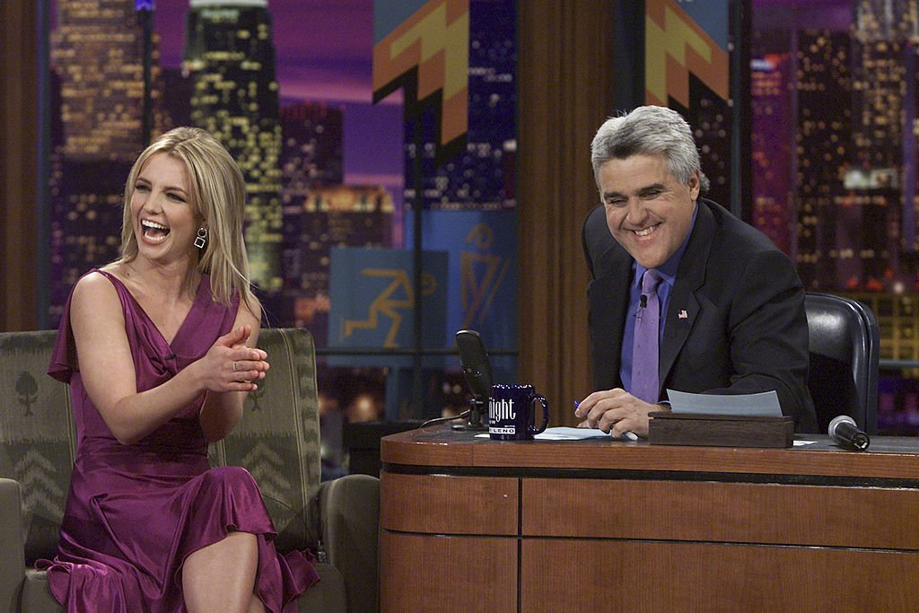 Image Credit: Getty Images / Musical guest Britney Spears during an interview with host Jay Leno on February 11, 2002.