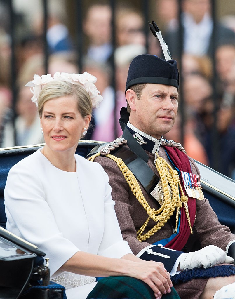 Image Credit: Getty Images / Prince Edward, Earl of Wessex and Sophie, Countess of Wessex ride by carriage during the Trooping the Colour, this year marking the Queen's official 90th birthday at The Mall on June 11, 2016 in London.