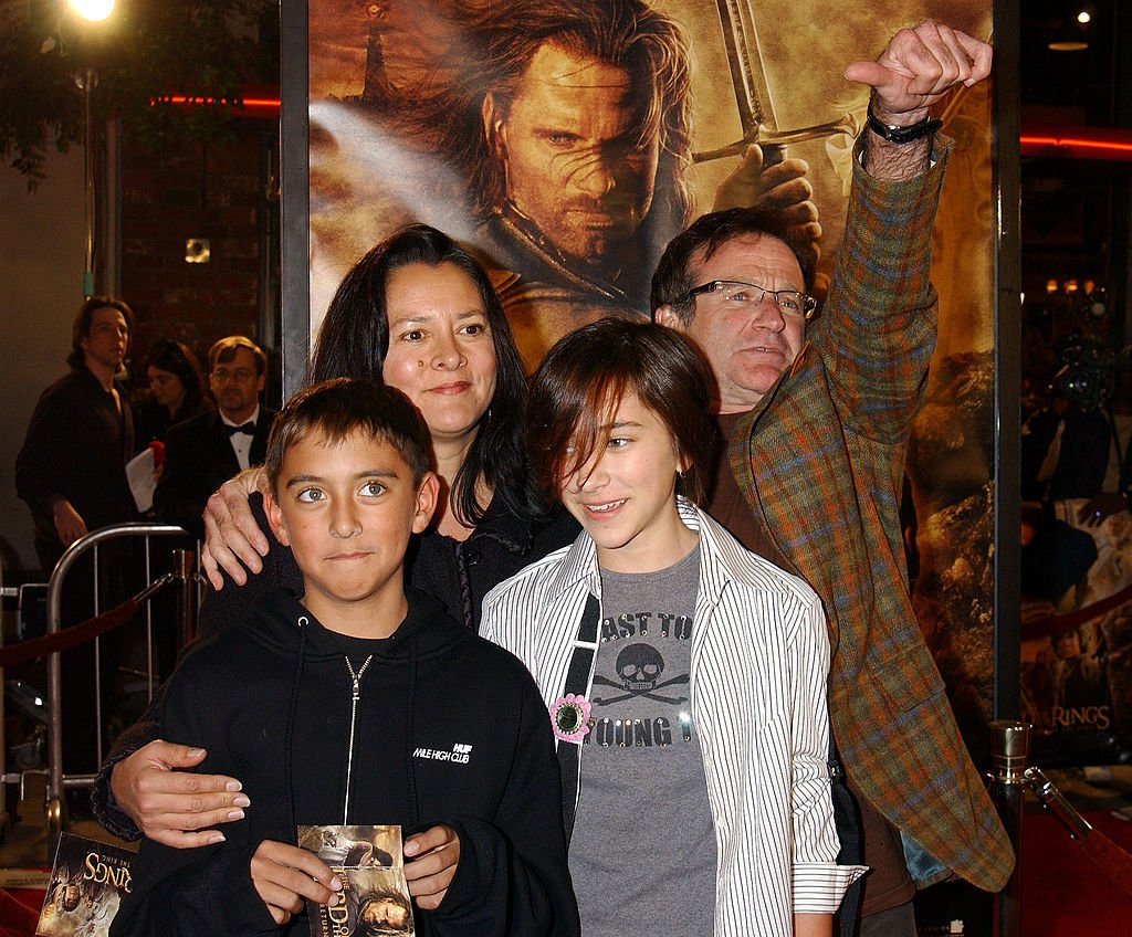 "Image Credits: Getty Images / Gregg DeGuire / WireImage | Robin Williams and family during ""The Lord Of The Rings:The Return Of The King"" Los Angeles Premiere at Mann Village Theatre in Westwood, California, United States."