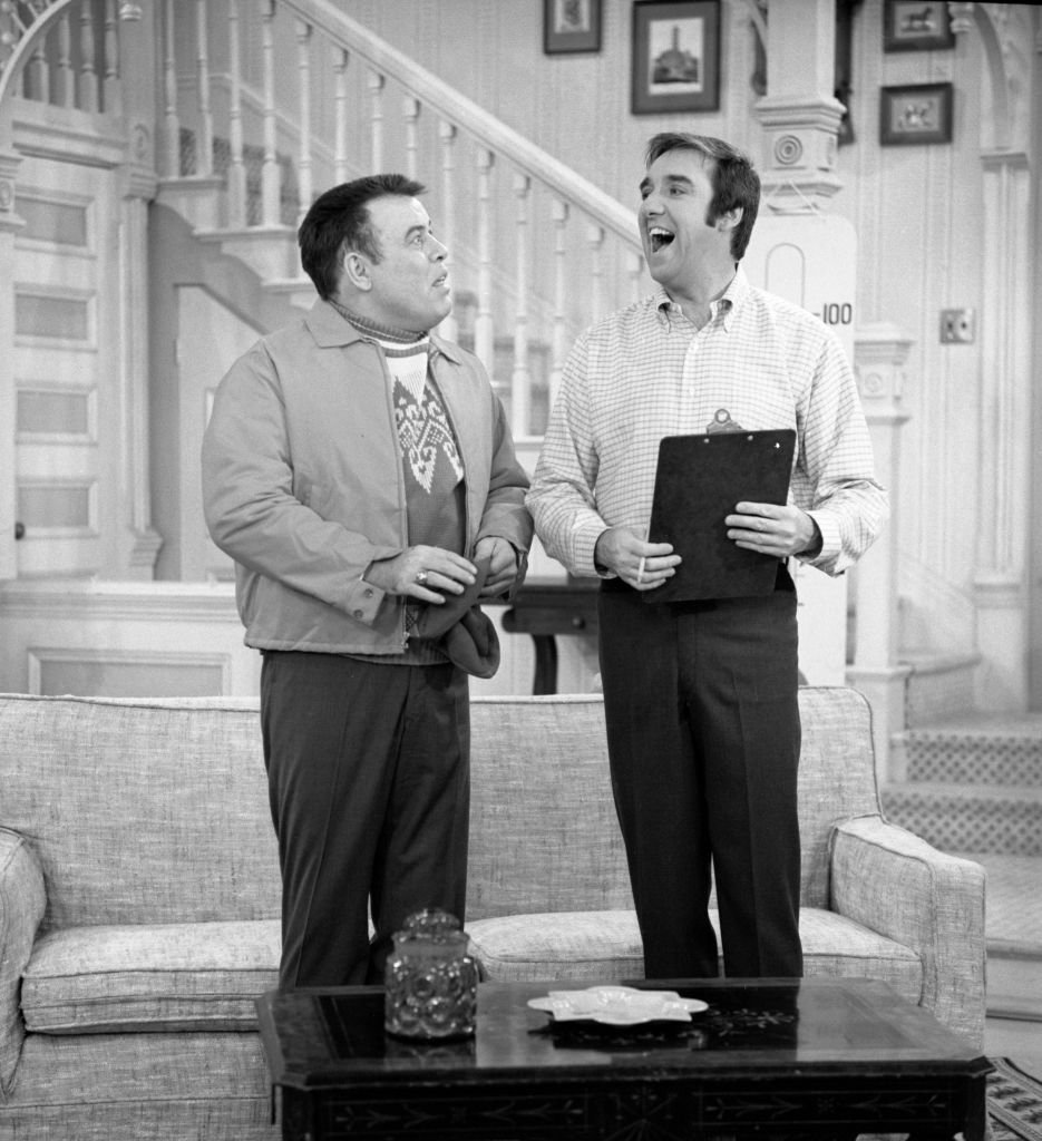 Image Source: Getty Images/CBS Photo Archive| The CBS television comedy and variety show The Jim Nabors Hour. From left: Frank Sutton and Jim Nabors in a comedy skit. Image dated January 15, 1971