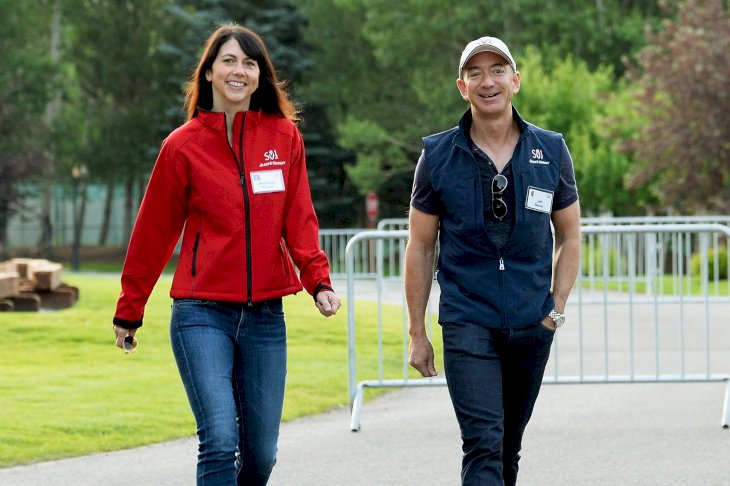 Image Credits: Getty Images / Kevork Djansezian | Jeff Bezos, founder and CEO Amazon.com, and Mackenzie Bezos.