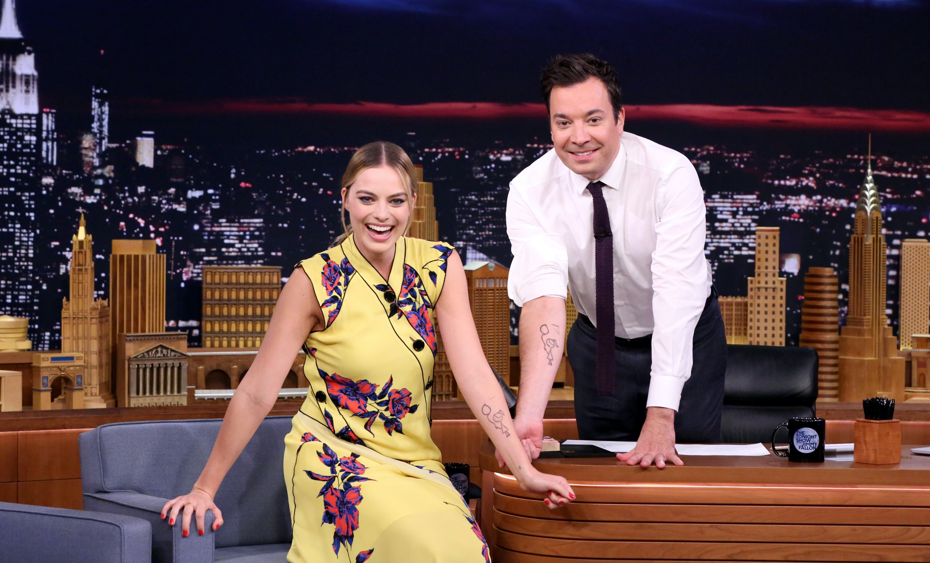 Image Credit: Getty Images / Actress Margot Robbie during an interview with host Jimmy Fallon on September 29, 2016.