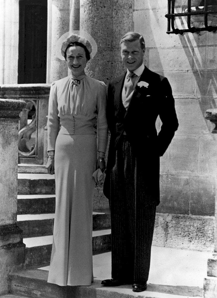 Image Credit: Getty Images / Wallis Simpson on her wedding day with her husband, the Duke of Windsor.