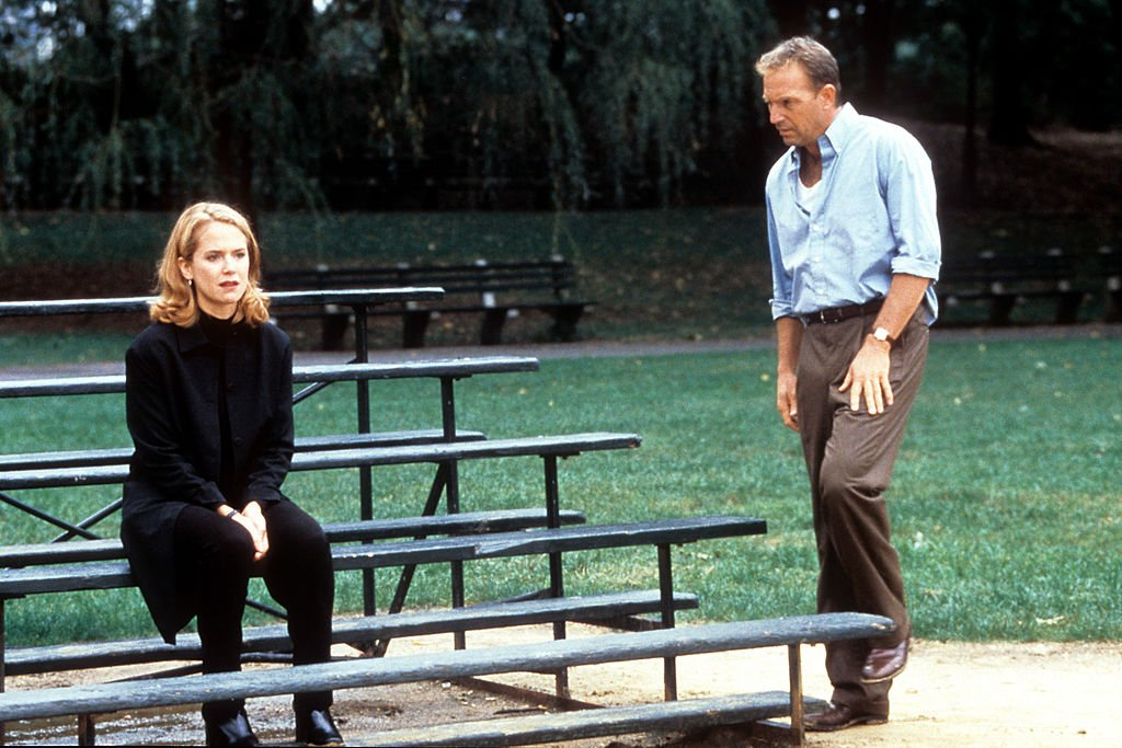 Image Credit: Getty Images / Kelly Preston is approached by Kevin Costner in a scene from the film 'For Love Of The Game', 1999.